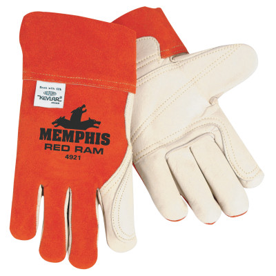 Cow Mig/Tig Welders Gloves, Premium Grade Cowhide Leather, Large, White/Russet