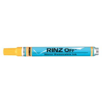 RINZ OFF Water Removable Temporary Markers, Yellow, Medium Tip