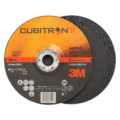 "Cubitron II Depressed Center Grinding Wheel, 5"", 1/4"" Thick, 7/8"", 5/8-11 Arbor"