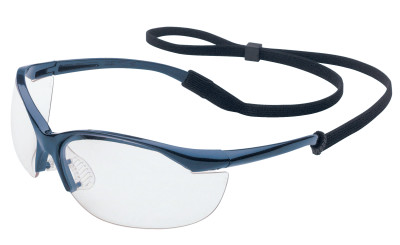 Vapor Eyewear, Clear Lens, Polycarbonate, Hard Coat, Metallic Blue Frame, Nylon